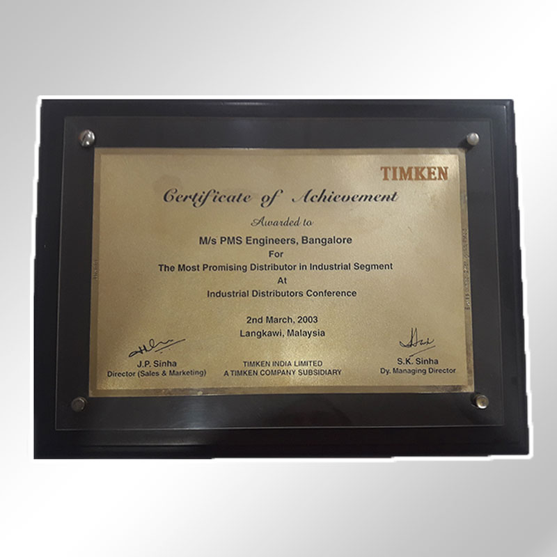 timken achievement of certificate 2003