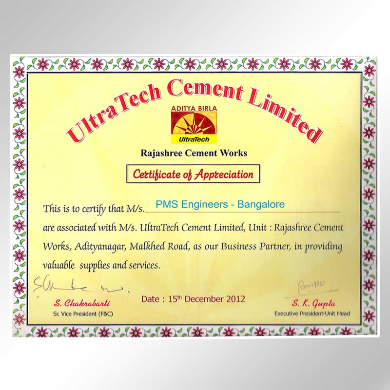 ultra tech certificate of appreciation 2012